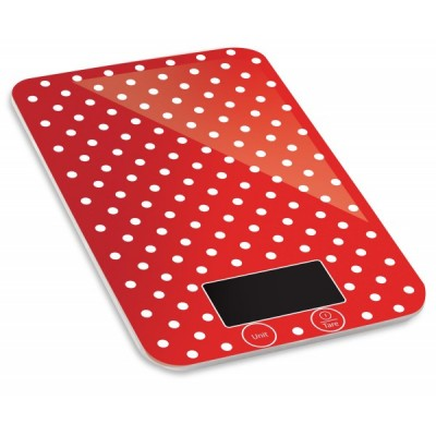 Keukenweegschaal rood met witte stippen - Kalorik - TKG EKS 1005 RWD