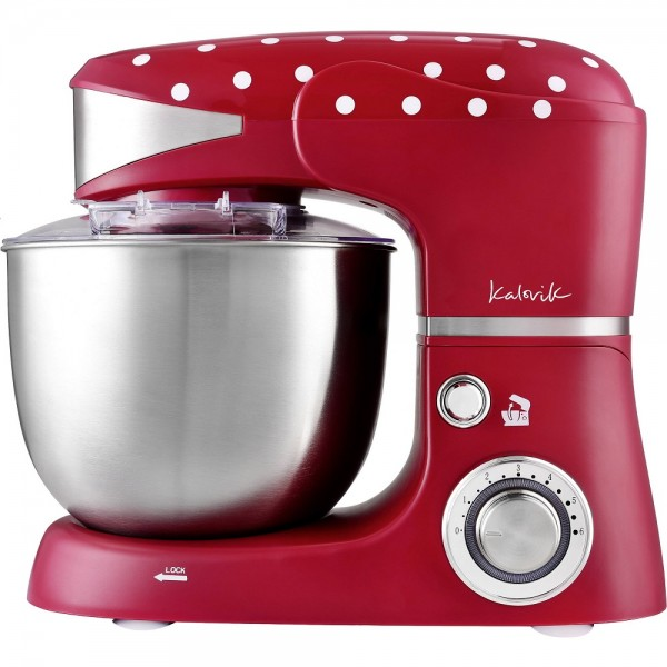 Team Kalorik keukenmachine - 1000 Watt - 5L - Rood met witte stippen