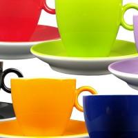 Maastricht porselein - Bart Colour - 6 koffiekopjes regenboog