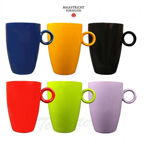 Maastricht porselein - Bart Colour - 6 mokken regenboog