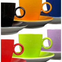 Maastricht porselein - Bart Colour - 6 espressokopjes regenboog