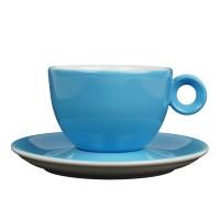 Cappuccinokopje met schotel - 200ml - Mosterdman - Blauw