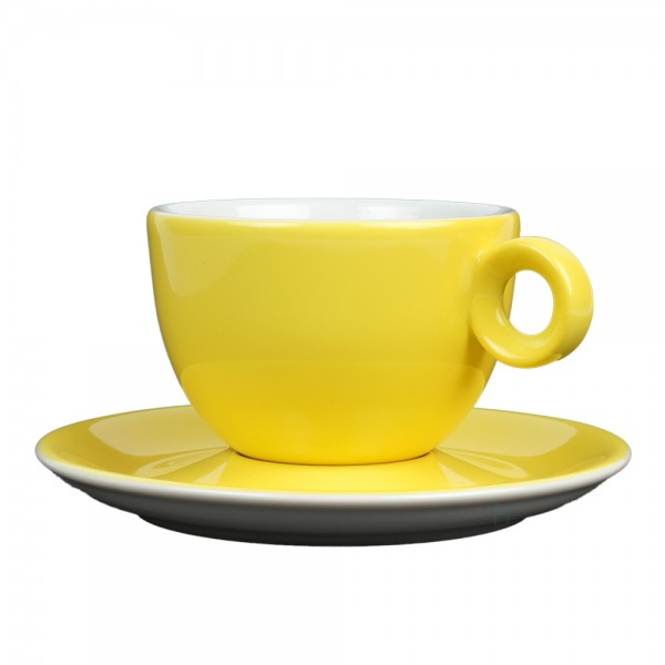 Cappuccinokopje met schotel - 200ml - Mosterdman - Geel