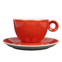 Cappuccinokopje met schotel - 200ml - Mosterdman - Rood