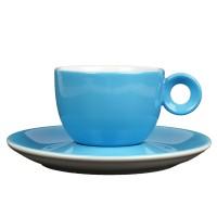 Blauw koffiekopje met schotel - 150ml - Mosterdman