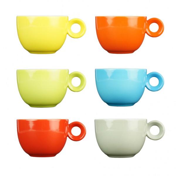 Koffiekopjes - 150ml - Mosterdman - 6 kopjes - regenboog