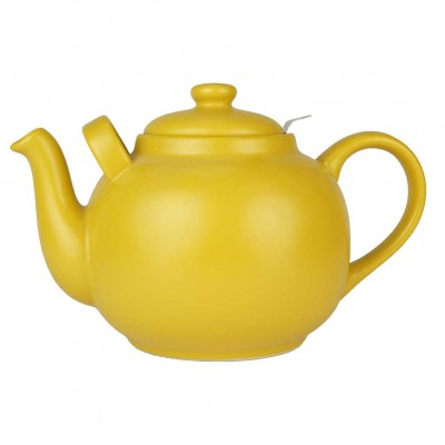 Grote theepot met zeef 2,5 liter - Plint - Mat oker geel