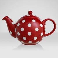 Theepot rood met witte stippen - London Pottery Globe - 1,2L - 6 kops