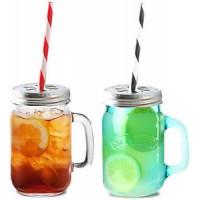 Kilner - Set drinkglazen met oor, rietjes en deksels