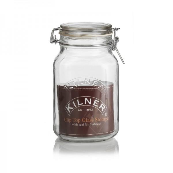 Glazen weckpot - Kilner vierkant - 1.5 liter met klemdeksel