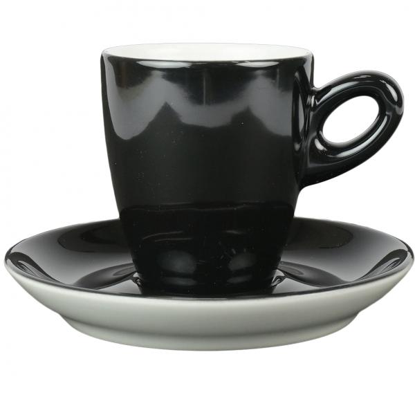 Walkure alta koffiekopjes met schotel zwart