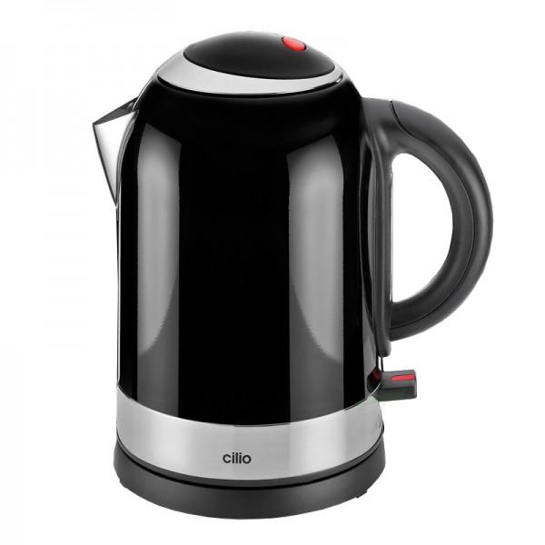 Waterkoker zwart- 1,7 liter - 2400W - RVS - Cilio