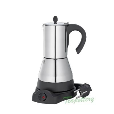 Elektrische espressopot / percolator cilio 480 Watt - RVS - 4 kops
