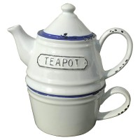 Tea for one set - Keramiek - Emaille look mok en theepot